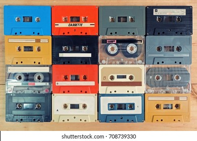 top view, retro cassette tape Colorful on wooden table