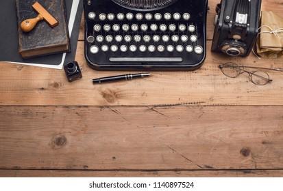 Top view retro typewriter header