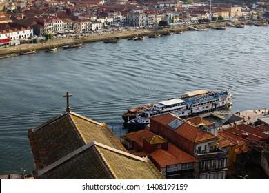 Top view of Ribeira at Douro river in Porto - Portugal.