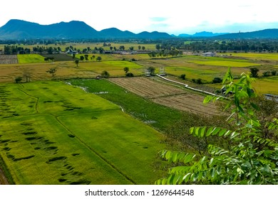 Top view of the rice fields in Khanchanaburi province Thailand.