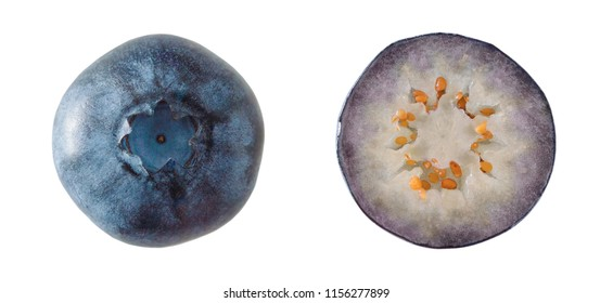 Top view of ripe blueberries isolated on white background. Close-up of bilberry, one is cut in half