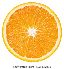 Top view of ripe slice orange citrus fruit isolated on white background with clipping path