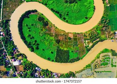 Top View of River Between Cropland
