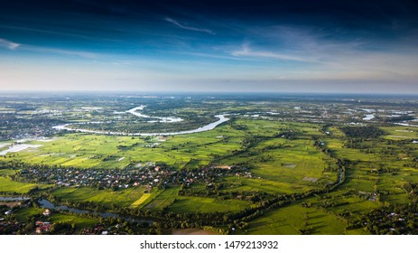 Top view of river Yasothon city in Thailand