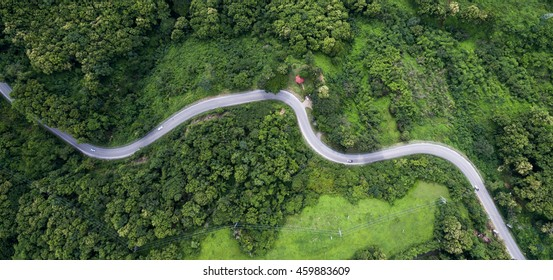 Top view of the the road in Thailand.