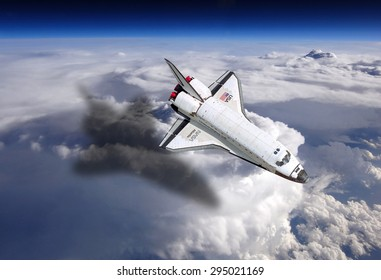 Top view Rockets fly over the air the backdrop parts of the earth. Elements of this image furnished by NASA.