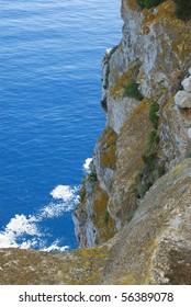Top view of rocks and ocean