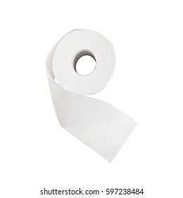top view roll of toilet paper isolated on white background