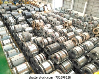 Top view Rolled steel sheet, slitting coil, in factory warehouse