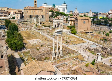 Top view of Roman Forum, Rome Italy. The Roman Forum is one of the main tourist attractions of Rome.