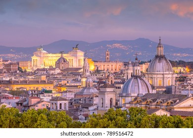 Top view of  Rome city skyline from Castel Sant'Angelo, Italy.