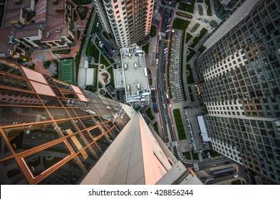 Top view of roof architecture, Kiev city Ukraine