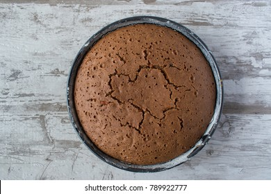 top view of round baked chocolate cake
