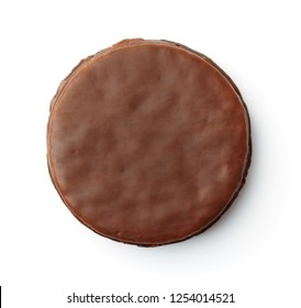 Top view of round chocolate cookie isolated on white