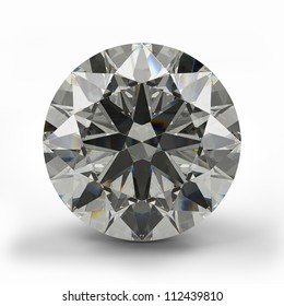 Top view of round diamond. Beautiful sparkling diamond on a light reflective surface. High quality 3d render.