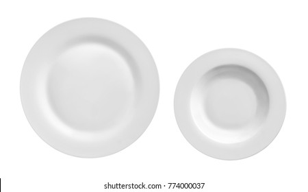 Top view of round plate or dishe isolated on white