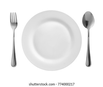 Top view of round plate, fork and spoon isolated on white
