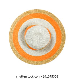 Top view of a round straw hat on a white background.