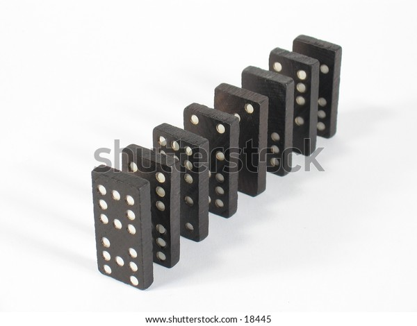 Top view of a row of dominoes.