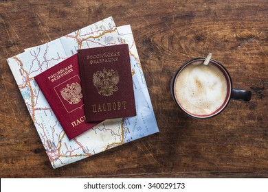 top view of russian passports and coffee