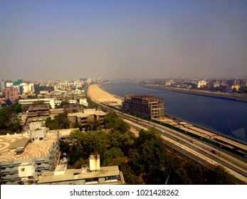 Top view of Sabarmati river front in Ahmedabad city