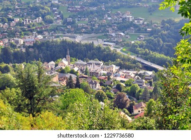 Top view of Saint Gervais old town, Haute Savoie, France