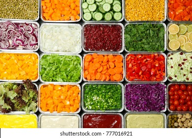 Top View Of Salad Bar With Assortment Ingredients