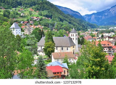 Top view of Sallanches town, Haute Savoie, France
