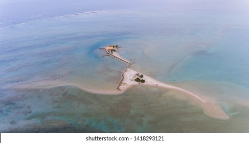 Top view of the sandbank with chapel, Greece.