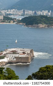 Top view of Santa Cruz Fortification, Niteroi, Rio de Janeiro, aerial view, from the Sao Luis and Pico fortress, protecting the entrance of the Guanabara.