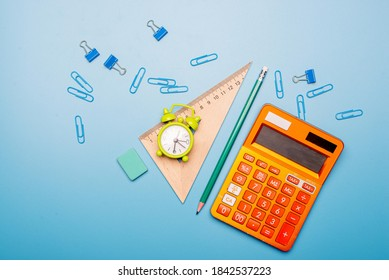 Top view. School supplies used in math class, geometry or science. Mathematics geometry tool for student in math class with copy space for text and isolated on white background. Mathematics concept.