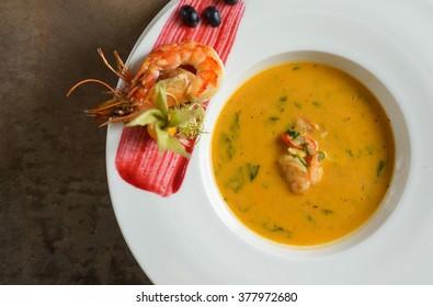 Top view sea food cream soup
