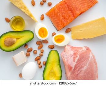 Top view of Selection of Ketogenic diet products on white background