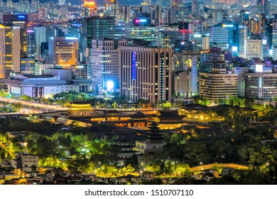 Top view Seoul city of Buildings night view Gyeongbokgung Palace in South Korea