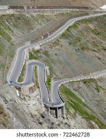 Top view of serpentine road in Stelvio Pass from above. Prato side zigzag