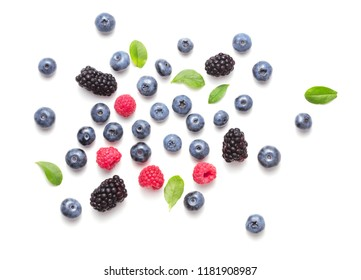 top view of set of berries isolated on white background