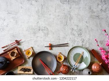 Top view set Chinese tea,chopsticks,dish,pot ,Copy space