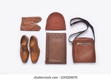 Top view set of fashion casual man`s accessories on white background