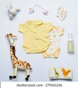 top view set of fashion trendy stuff and toys for newborn baby, baby fashion concept
