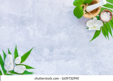 Top view of set for relaxing healing thai spa treatments. Wooden mortar pounder with herbs, bowl with salt, massage grey stones, plants are on cement concrete background. Ayurveda salon concept.