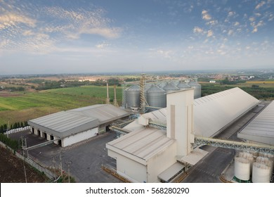 Top view Set of storage tanks raw material agricultural crops  feed mills