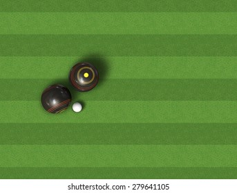 A top view of a set of wooden lawn bowls next to a jack on a perfect flat green lawn