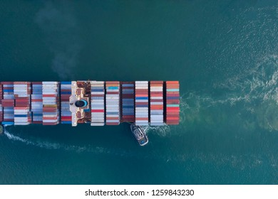 Top view of Ship which Business Logistics Cargo concept and the map global partner connection of Container Cargo freight ship for Import Export ,which The logistic and transportation of International