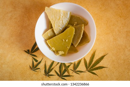 Top view shot about edible cannabis concept.A cannabis edible, also known as a cannabis-infused food or simply an edible, is a food product that contains cannabinoids, especially tetrahydrocannabinol.