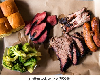 Top View Shot Of Smoke meats bbq southern style.