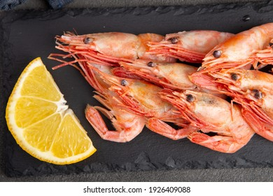 Top view of shrimps on black slate