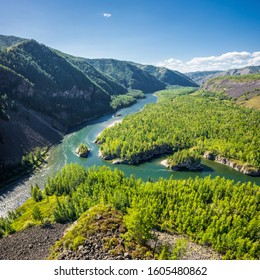 Top view of the siberian mountain rivers Balyiktyig hem and Kyzil hem confluence, Yenisei river source.