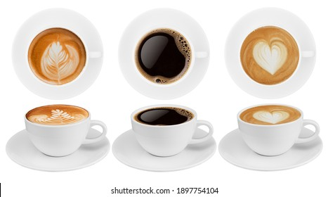 Top view and side view coffee cup collection, coffee cup assortment with shape sign collection isolated on white background. Save with clipping path