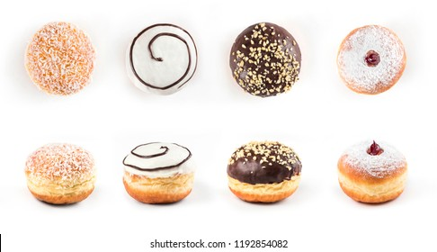 Top view and view from side of delicious doughnuts isolated on white background