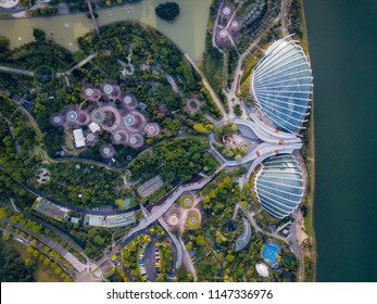 Top view of the Singapore landmark. Singapore city downtown drone view.